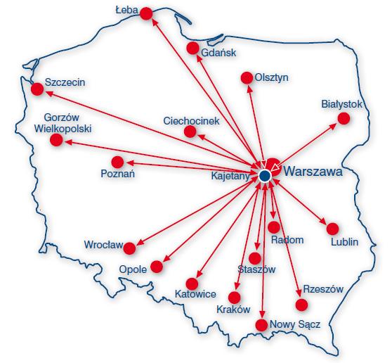 mapa Polski zzaznaczonymi ośrodkami
